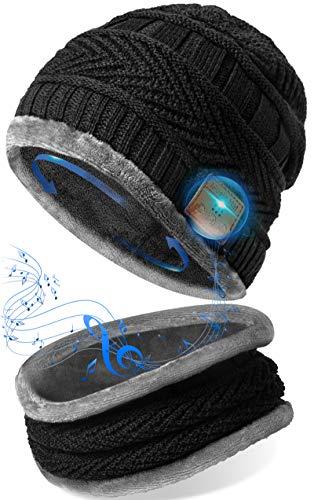 Lustige Geschenke für Männer Bluetooth Mütze - Originelle Geschenke Weihnachten Winter Bluetooth Musik Mütze mit Nackenwärmer Schal, Mütze Bluetooth 5.0 für HD Musik & Anrufe Praktische Geschenke