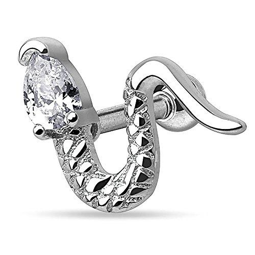 Autiga® Ohr Piercing Stecker Schlange Snake Zirkonia Kristall Tragus Helix Cartilage Barbell Silber