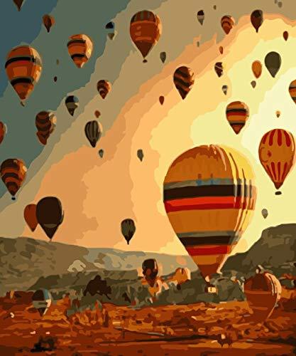 OKOUNOKO Pintura por Números Globo Aerostático Decoración De La Imagen De La Oficina Sin Marco 40X50 Cm