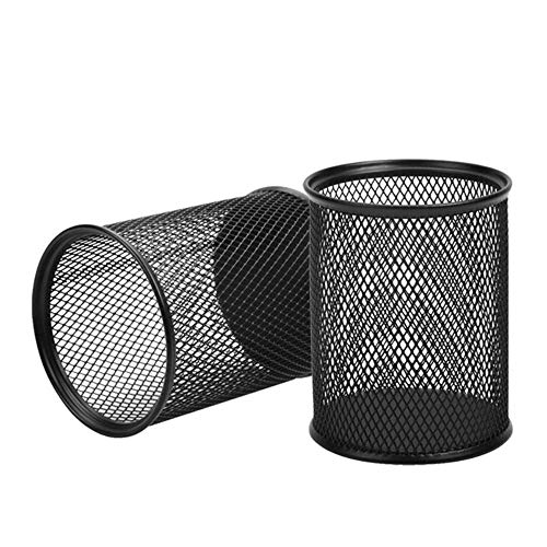 AIMI 2pcs Black Round Steel Mesh Pen Container Pencil Cups Desk Organizers Holders 3.5 inch for Home Office