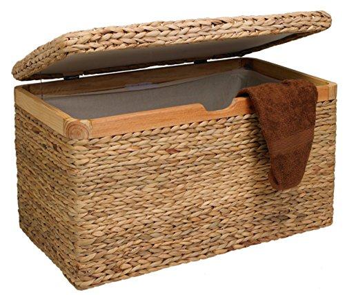 Artra Design Truhe mit Klappdeckel Wasserhyazinthe hell groß, mit Zierrahmen aus Massivholz, nachhaltig