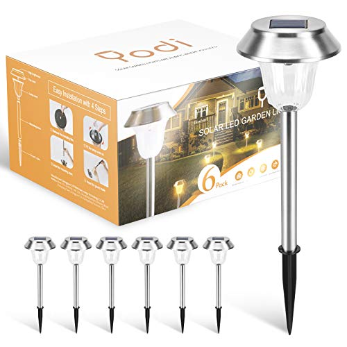 YODI 6 Pack Solar Path Lights Outdoor Super Bright 15 Lumens LED Solar Lights Outdoor 12 Hours Life IP44 Waterproof for Garden, Yard, Patio, Pathway and Walkway