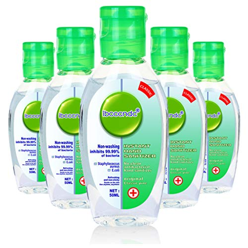 50ml Antibacterial Hand Sanitizer Gel, Moisturizing Gel Hand Wash Soap, Green Cover Fruit-Scent (Pack of 5)