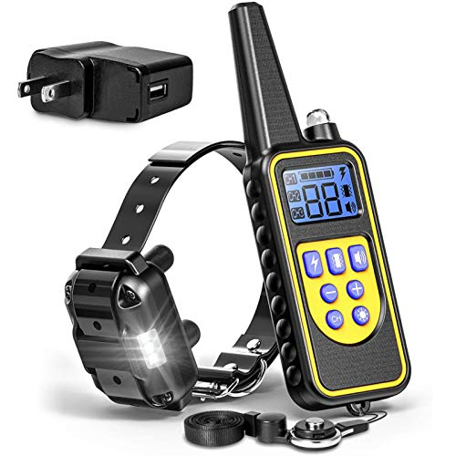 F-color Dog Training Collar, Rechargeable Waterproof Dog Shock Collar for Dogs with Remote 2600ft,with Beep Vibrating Shock LED Light 4 Modes for Small Medium Large Dogs, Black