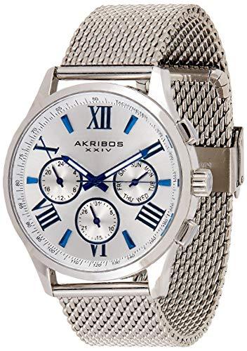 Akribos XXIV Multifunction Chronograph Watch - 3 Sub-Dials Complications On Mesh Bracelet Men's Watch - AK844