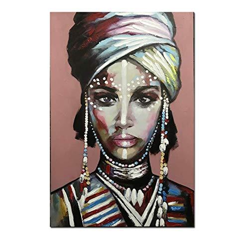 YaShengZhuangShi Pintura de Lienzo Vestir Mujer Africana Cuadros Carteles e Impresiones Arte de la Pared Imagen Estilo Moderno para la decoración del hogar de la Sala de estar50x70cm, sin Marco