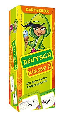 Karteibox Deutsch Klasse 2: mit farbigen Karteikarten