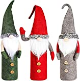 3pcs Christmas Wine Bottle Cover, Handmade Swedish Wine Bottle Toppers Santa Claus Bottle Bags Holiday Home Christmas Decorations Gift
