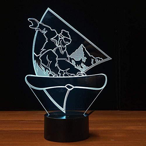 Nachtlichter Led Snowboard Lampe 7 Ändern Der Farben 3D Illusion Nachtlampe Weihnachtsgeschenk Child Boy Home Decor