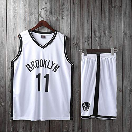 SHR-GCHAO Niños Chicas Hombres Adultos NBA Brooklyn Nets 11# Kyrie Irving Basketball Jerseys Traje Top De Verano + Trajes Cortos, 100% Poliéster, Non-Fade,Blanco,3XS(Child) 85~95CM