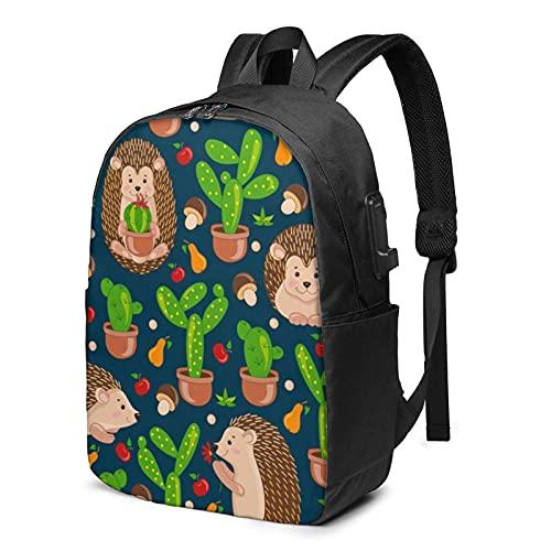 XCNGG Mochila para portátil, Mochila Ligera de Viaje de 17 Pulgadas con Puerto de Carga USB Hedgehog Cactus