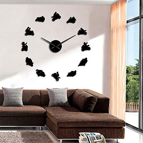 Motocross Sports Bike Wall Art Home Decor DIY Giant Wall Clocks Ver Deportes Extremos Moto Super Bike Speed Racer Bikers Regalo (Negro,47inch) Hecho a Mano para Hombres Mujer Amigos niñ
