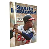 Framed Canvas Artwork Decoration Hank Aaron Sports Illustrated Cover Baseball Player Canvas Wall Art...