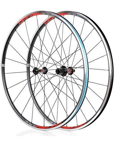 DSHUJC 700C Juego de Ruedas de Bicicleta de Carretera V-Brake Rueda de Bicicleta con buje de cojinete Sellado Llanta de aleación de Aluminio de Doble Capa Liberación r