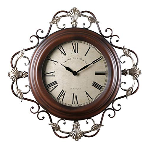 Horloge Murale Vintage/Horloge d'art créatif en Fer forgé/Muet sans tic-té, Convient au Salon, décoration, Cadeau (59 × 59cm)