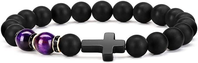 Byson Fashion Religion Cross Men Women 8mm Natural Stone Tiger Eye & Black Matte Agate Beads Bracelet Elastic Bracelet Bangle