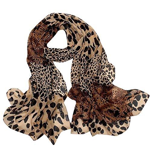 YEBIRAL Damen Leopardenmuster Punkt Schals Schals Winter Herbst Frühling Weich Chiffon Tücher Schal(160x60cm,Kaffee)