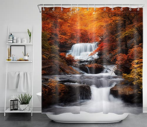 HVEST Fall Forest Shower Curtain, Red Maple Tree Falling Leaves and Waterfall Nature Scenery Autumn Bathroom Curtain, Landscape Waterproof Polyester Fabric Bathroom Decor with 12 Hooks, 69x70 Inches