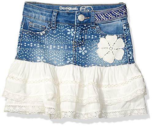 Desigual Mädchen Girl Skirt Short (FAL_CALELLA) Rock, Blau (Denim Ligth Wash 5007), 140 (Herstellergröße: 9/10)