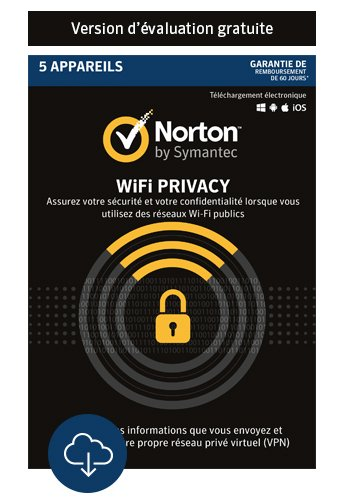 Norton Wi-Fi Privacy | 5 Appareils | PC/Mac/Android | Abonnement 12 mois - Facturation Mensuel