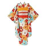 [京のみやび]七五三 女の子着物セット 7才向け四つ身(120cm) 水色 赤 椿