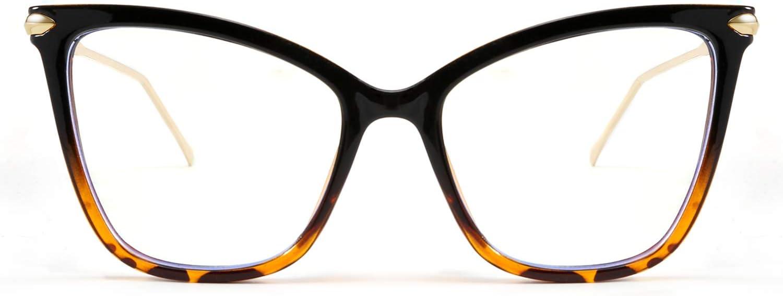 FEISEDY Oversized Cat Eye Glasses Frame Blue Light Blocking Eyewear for Women B2589