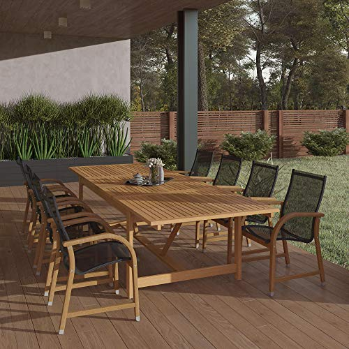 Amazonia Franklin 9-Piece Teak Finish Extendable Rectangular Patio Dining Set