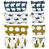 LYTIVAGEN 8 PCS Canvas Pencil Pen Zipper Pouch Small Cosmetic Makeup Bags Fabric Pencil Case Coin Organizer Desktop Small Storage Bag for Coins,Small Items (19.5x8.5x3.5cm/13x10.5x3cm)