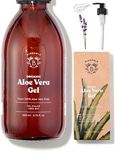 ALOE VERA GEL BIO | Pures Aloe Vera Fruchtfleisch 100% Rein + Ätherisches Lavendelöl BIO | Ohne Pulver | Ohne Xanthan | Gesicht, Augenpartie, Körper, Haare | Glasflasche + Pumpe (200ml)