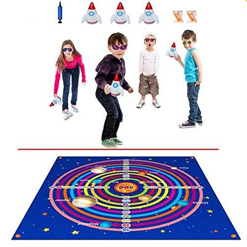 NAKELUCY Darts Games Board Set, Outdoor-Bodenspiele für Familien, aufblasbares Wurfpad drinnen draußen Rasen-Dartspiel für Kinder Kinder, 122x122cm
