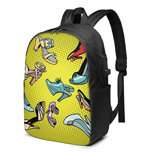 Hdadwy Señoras Zapatos Estilo Grunge Plantilla Vector USB Backpack Bolso de Hombro de 17 Pulgadas Bolso para portátil Mochila de Moda