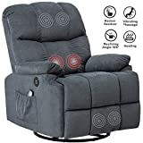 Mecor Massage Recliner Chair Fabric Rocker Recliner with Heat 360 Degree Swivel Single Sofa Seat Ergonomic Lounge with USB/Side Pockets/Remote Control for Living Room (Gray-Blue)