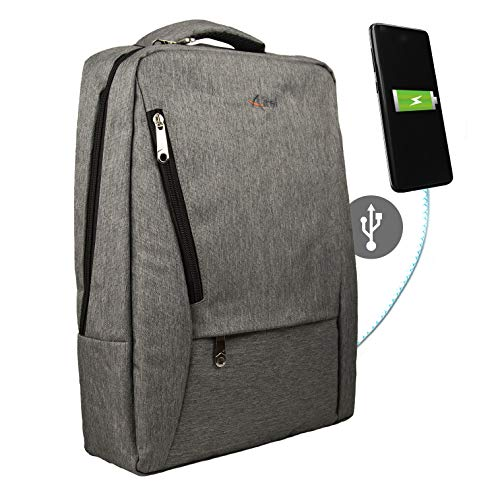 Airel Mochila portátil-Inteligente | Mochila Impermeable para portátil con Puerto USB | Daypack Portátil Mochila para Ordenador Portátil | Mochila con Cargador | Medidas: 39x28x10 cm. 15.6 Pulgadas