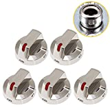 DG64-00473A Top Burner Control Dial Knob Range Oven Stainless Steel Fit for Samsung Range Oven Burner NX58F5700WS NX58H5600SS NX58H5650WS NX58J7750SS