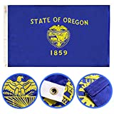 Winbee Oregon State Flag 3x5 Ft - Premium Double Sided Embroidered, 2-ply Long Lasting Nylon, Sewn Stripes, Brass Grommets and UV Protected. Best American Oregon Flag Great for Outdoor/Indoor Display