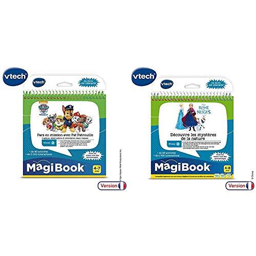 VTech Paw Patrol Magibook-La Pat' Patrouille, 480205 & Livre MagiBook - La Reine des Neiges - Découvre Les mystères de la Nature, Livre éducatif