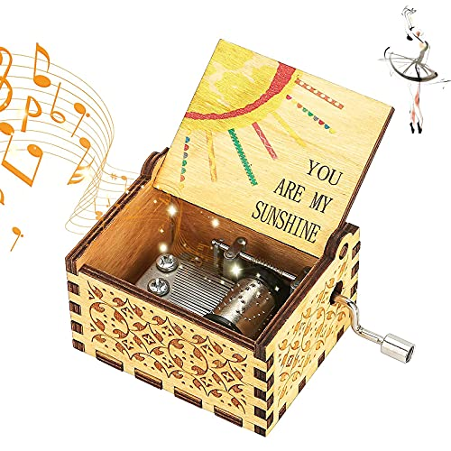 Caja Música You Are My Sunshine Tema Caja Música Caja Musica Tallada Caja Música Antigua Caja Música Madera Manivela Caja Música Mecanismo para Manualidades Coleccionables de Decoración del Hogar
