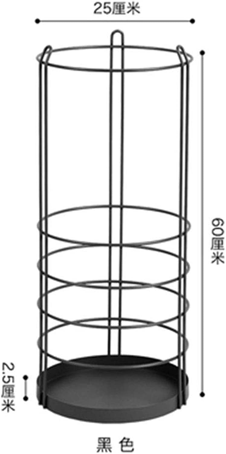 Zr Fashion Simple Creative Wrought Iron Umbrella Stand Family Lobby Large Capacity Storage Bucket (color   Black)