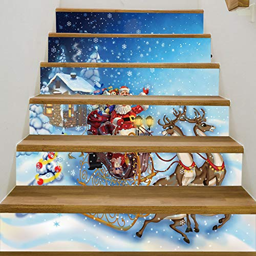 YEARGER DIY Tile Stickers 3D Santa Claus Waterproof Peel and Stick Christmas Home Decor Stair Case Decal Stair Mural Decals