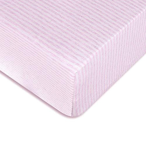 Zenssia Stretchy Orgarnic Baumwoll-Spannbetttuch für Babybett und Kleinkind-Matratze mit tiefen Taschen, gestreift, Pink