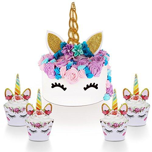Unicorn Cake Topper with Eyelashes and Unicorn Cupcake Toppers & Wrappers Set - Unicorn Party Decorations Kit for Girls, Birthday, Baby Shower and Wedding