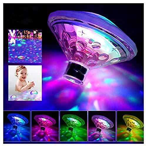 Caxmtu Floating Pool Led Tub Lights Underwater Lamp for Bath Disco Pond Swimming Pool Child Bath Toys, 7 Modes Assorted Color - Battery Operated