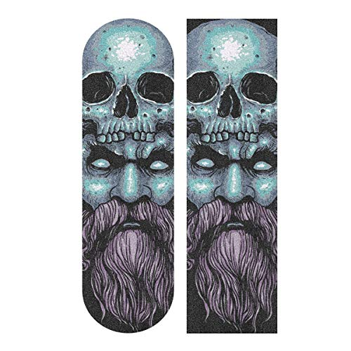 Cinta de agarre para monopatín, 33 x 9 pulgadas, papel de lija Zeus Skull para Rollerboard, Longboard, cinta de agarre sin burbujas