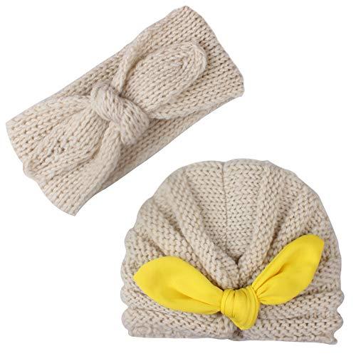 Casue Turban Hoofdband en muts voor babymeisjes, winterwarme konijn knot haarband, gebreide kop wikkelen oorwarmer, beige