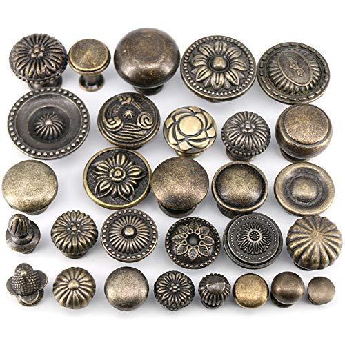 HUANGDANSEN Cabinet Handles Antique Bronze Kitchen Cabinet Drawer Knobs Dresser Cupboard Wardrobe Furniture Pulls Handle /4Pcs