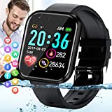 Amokeoo Smart Watch,Fitness Watch Activity Tracker with Heart Rate Blood Pressure Monitor Bluetooth Smartwatch IP67 Waterproof Sports Tracker Watch Touch Screen for Android iOS Phones Men Women Black