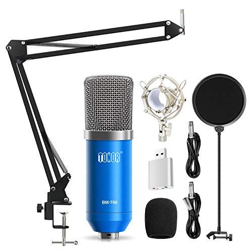 TONOR XRL 3.5mm Micrófono Condensador de Grabación para Computadora Podcast Estudio con Soporte de Micrófono Ajustable Suspensión y Kits de Micrófono Azul
