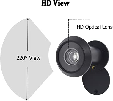 """Door Viewer Peephole, Solid Brass 220-degree Door Viewer with Heavy Duty Rotating Privacy Cover for 1-3/8"""" to 2-1/6"""""""