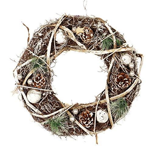 guirnalda NLIAN- 35cm Corona de Navidad, con Rota/Natural de los Conos/esférica de los Ornamentos/de Las Estrellas por la Puerta Frontal de Windows de Pared Exterior Feliz Garland