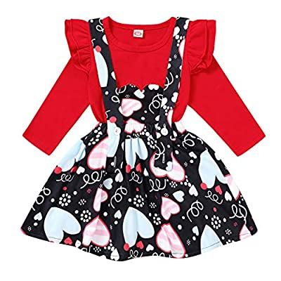 Amazon - 70% Off on Toddler Baby Girl Valentine's Day Outfit Long Sleeve Ruffle Heart Print Shirt